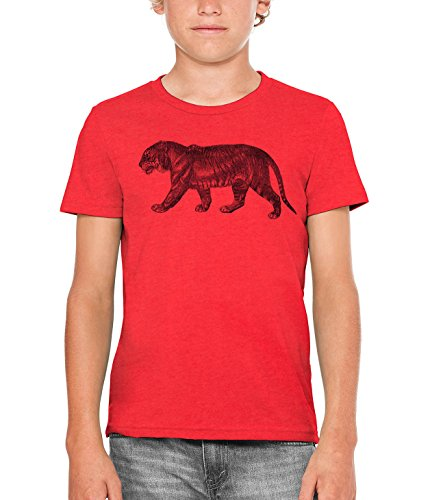 Austin Ink Apparel Angry Prowling Tiger Unisex Kids Vintage Printed T-Shirt (Red, L)