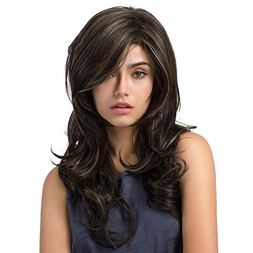 Inkach Womens Curly Long Wig - Ladies Big Wavy Synthetic Wig with Inclined Bangs Costume Party Hair Wigs (Brown) for $<!--$6.89-->