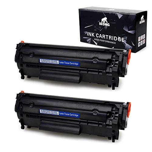 IKONG 2-BLACK 12A toner Compatible Replacement for HP 12A Q2612A works with HP LaserJet 1020 1010 1012 1018 1022 3055 3050 M1319f mfp 3015 1022N 3030 3052 1022NW 3020 M1005 - Q2612a Hp Toner