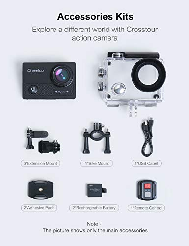 Crosstour CT9100 4K 20MP Action Camera with WiFi EIS LDC Remote Control 40M Waterproof Underwater