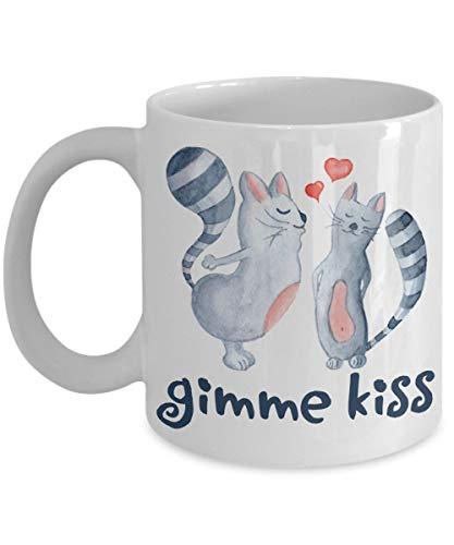 Gimme Kiss Coffee Mug I Love You Gift Cats Couples Hearts ()