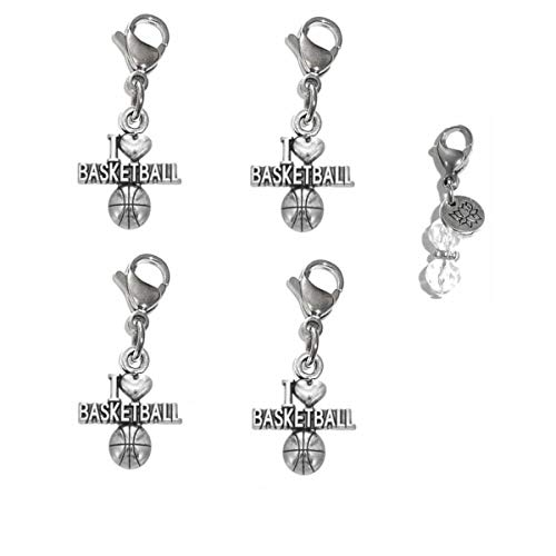 (Hidden Hollow Beads Set of 4 Clip On Charms, Bag, Purse, Handbag, Message, Keychain, Zipper Pull, Bracelets, Necklaces, Jewelry (I Love Basketball) )