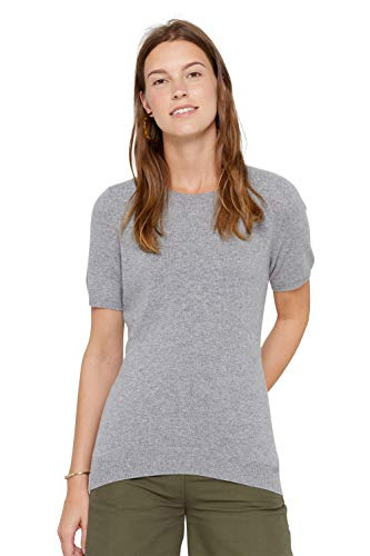State Cashmere Short Sleeve Crew Top Sweater 100% Pure Cashmere Classic Jewel Neck Pullover Tee for Women (Medium, Heather Grey)