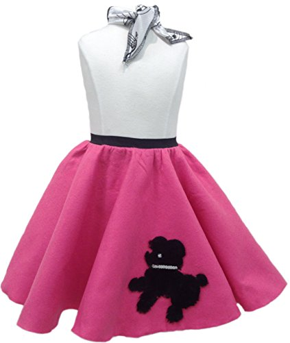 Toddler Poodle Skirt with Scarf (Hot Pink)