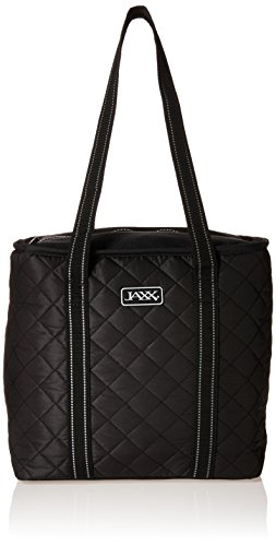 Fit & Fresh JAXX Black Quilted TOTE Bag, Stylish Fitpak Meal Prep Set with Portion Control Containers, Ice Pack and Vitamin Case, Black