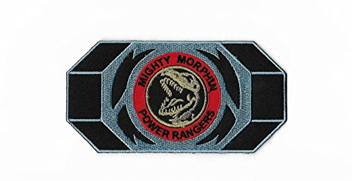 Mighty Morphin Power Rangers Embroidered Iron on Patch / Red Ranger Morpher Belt Buckle Badge Applique Tyrannosaurus Rex Costume Fancy