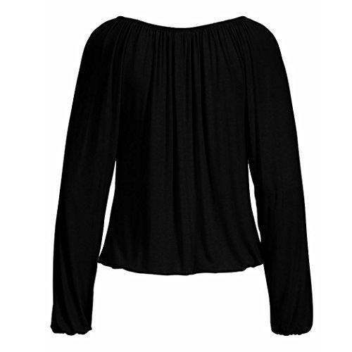 Fit Mode Printemps Dress Lache zahuihuiM Longues Long V Nouvelle Chemise Casual Noir Cou Bowknot Femmes Automne Blouse Cravate Tops Manches Solide twt6q