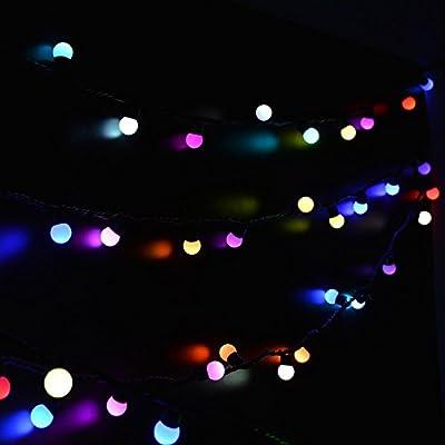 lederTEK Christmas 50 LED 16ft RGB Ball Light, Color Change Novelty Fairy Globe String Lights for Party Decor, Xmas Tree, Garden, Patio, Home, Indoor, Holiday, Bedroom Decorations, Outdoor, Wedding