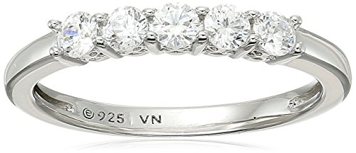 Plated Swarovski Rhinestone - Platinum-Plated Sterling Silver Round-Cut 5-Stone Ring made with Swarovski Zirconia (1/2 cttw), Size 6
