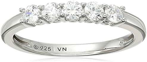 Platinum Plated Sterling Silver Swarovski Zirconia Round Cut 5 -Stone Ring