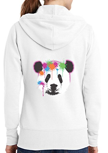 Womens Neon Panda Full Zip Hoodie, White, 4X