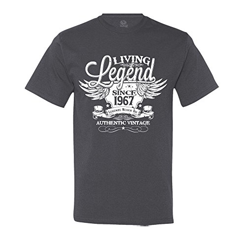 Living Legend Since 1967 50th Birthday Gift T-Shirt Vintage Turning 50 T-Shirt X-Large Charcoal Grey