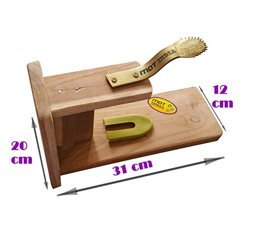 MDT India Table Top Teak Wooden Coconut Scraper Grater Shredder Movable Chirava Place Anywhere 6
