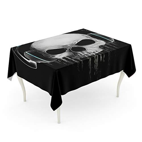 Tarolo Rectangle Tablecloth 52 x 70 Inch Halloween Graphics Skull Evil Concert Rock and Roll Music Illuminati Canvas Tattoo Varsity HeadFace Table Cloth