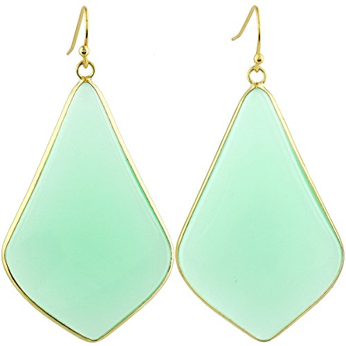 SUNYIK Women's Green Glass Large Rhombus Dangle Earrings (Catching Earring Jewelry Eye)