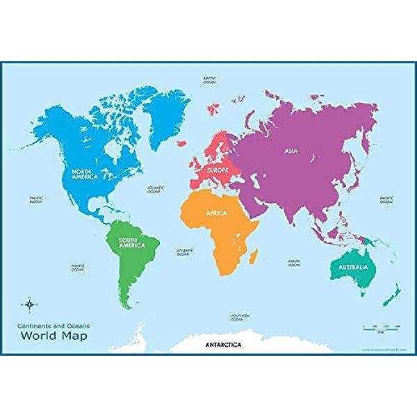 Wisdom Media World Continents Map – Póster educativo infantil de pared gráfico para niños: Amazon.es: Hogar