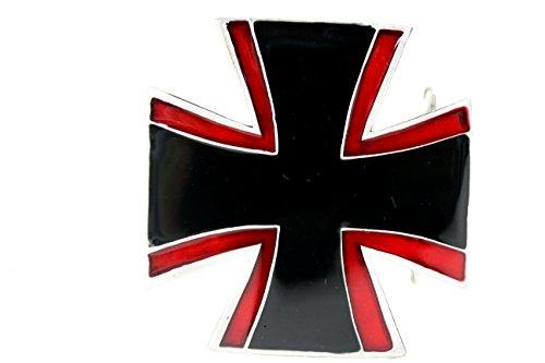 (TFJ Men Women Fashion Rider Belt Buckle Western Silver Metal Iron Cross Star Biker Red Black)