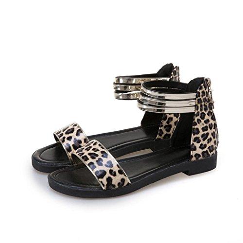 Fheaven Damessandalen Sandalen Schoenen Peep-toe Schoenen Romeinse Band Rits Sandalen Flats Zwart