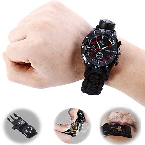 EMAK Paracord Survival Watch, Multi-Function Emergency Rescue Watch for Men and Women, Whistle, Thermometer, Umbrella Rope, Compass, fire Device
