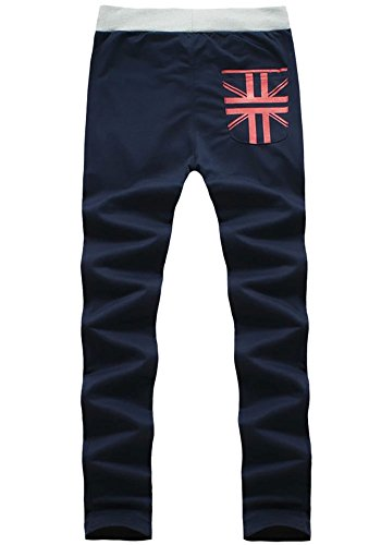 Men Taper Elastic Waist Drawstring Jogging Athletic Sweatpant Track Pants Navy