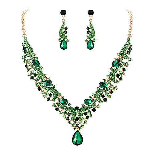 Flyonce Women's Austrian Crystal Wedding Floral Wave Teardrop Necklace Earrings Set Green Gold-Tone ()