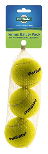 PetSafe Tennis Dog Toy Balls Compatible with Automatic Ball Launcher (3 Pack), Yellow, Standard
