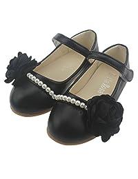 Bella Rosa Toddler Little Girls Dress Ballet Mary Jane Pearl Flat Shoes