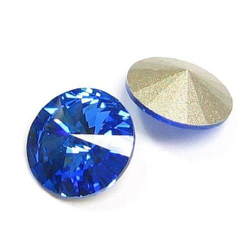 6 pcs Swarovski 1122 Crystal Round Rivoli Stone Silver Foiled Sapphire 12mm / Findings / Crystallized Element