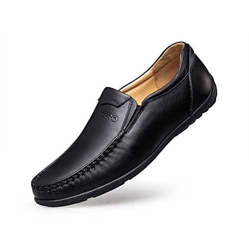 ZRO Mens's Casual Moc-Toe Stitching Leather Loafers Shoes Slip On Black US (Studded Leather Moccasins)