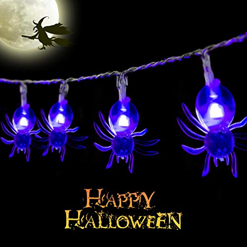 Halloween Spider String Lights, Battery Operated 9.8Ft 30 LED Halloween Holiday Decoration for Indoor&Outdoor -
