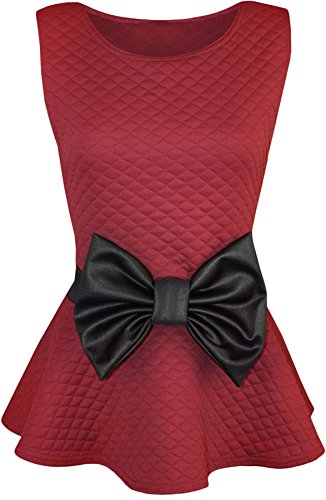 Quilted Bow - Forever Womens Sleeveless Quilted Wet Look Bow Flared Peplum Party Top