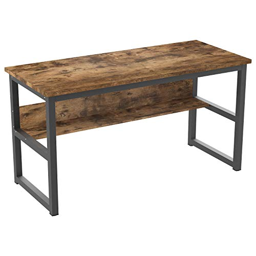 "IRONCK Computer Desk 55"" with Bookshelf, Office Desk, Writing Desk, Wood and Metal Frame, Industrial Style, Study Table Workstation for Home Office Furniture"