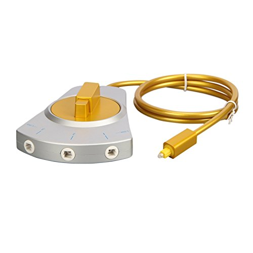 3 Puerto Maxhood óptica Digital interruptor 3-en-1 out, Toslink Audio fibra óptica conmutador Selector Splitter 3 A 1 para PS3 XBOX 360 CD DVD ordenador: ...