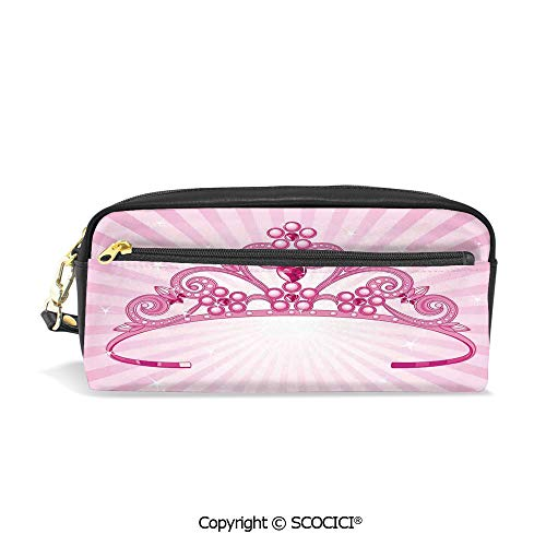Fasion Pencil Case Big Capacity Pencil Bag Makeup Pen Pouch Beautiful Pink Fairy Princess Costume Print Crown with Diamond Image Art Decorative Durable Students Stationery Pen Holder for -