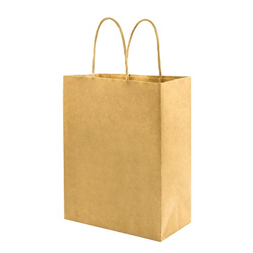 Thick Paper Bags with Handles Bulk, Bagmad Medium Size Brown Kraft Bags 8x4.75x10.5 inch 100 Pcs Pack, Craft Gift Bags, Grocery Shopping Retail Bags, Party Wedding Bags Sacks (Brown 100pcs)