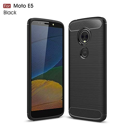 Motorola Moto E5 Case (XT1920DL) YMH Durable Armor and Resilient Shock Absorption TPU Raised Bezels Protective Case Cover for Moto E5 (Tracfone, Simple Mobile, Straight Talk, Total Wireless) (Black)