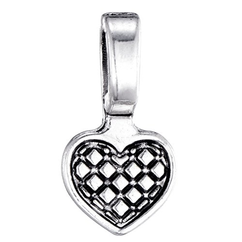 80pcs Antique Silver Heart Spoon Glue on Bail for Earring Bails or Scrabble and Glass Pendants Charms Connector Jewelry Marking 8x15mm (11397)