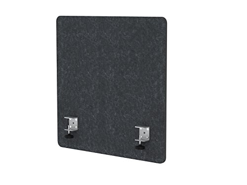 """VaRoom Acoustic Partition, Sound Absorbing Desk Divider – 24"""" W x 24""""H Privacy Desk Mounted Cubicle Panel, Charcoal Grey by VaRoom (Image #1)"""