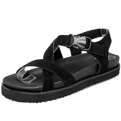 TAOFFEN Femmes Confortable Bout Ouvert Sandalias Cross Strap Plates Ete Zapatos Negro