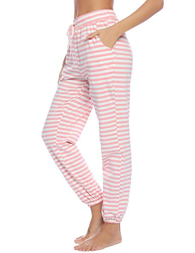 Abollria Women's Cotton Pajama Pants Stretch Lounge Pants with Pockets Jogger Pants (Pink_Stripe, Large)