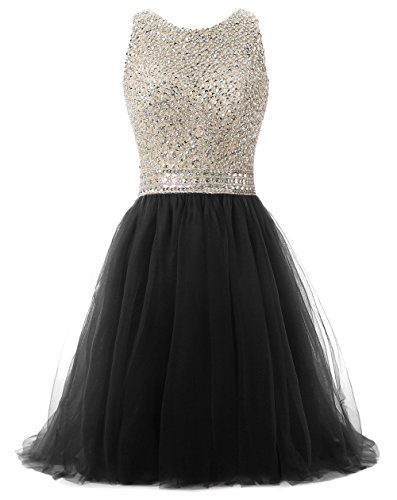 Callmelady Tulle Beading High Neck Short Homecoming Dresses for Juniors 2017 (Black, US30W) by Callmelady