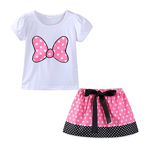 Mud Kingdom Little Girls Clothes Holiday Cute Skirt Sets Bow 4T Pink ()