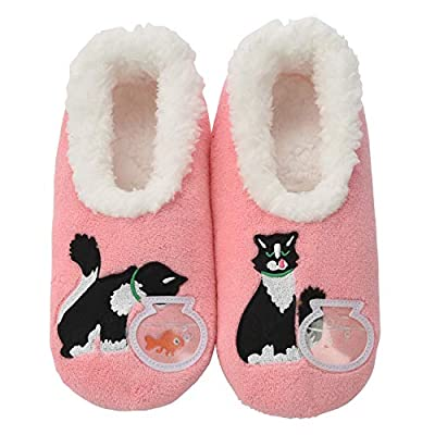 Snoozies Pairables Womens Slippers - House Slippers - Pink Cat