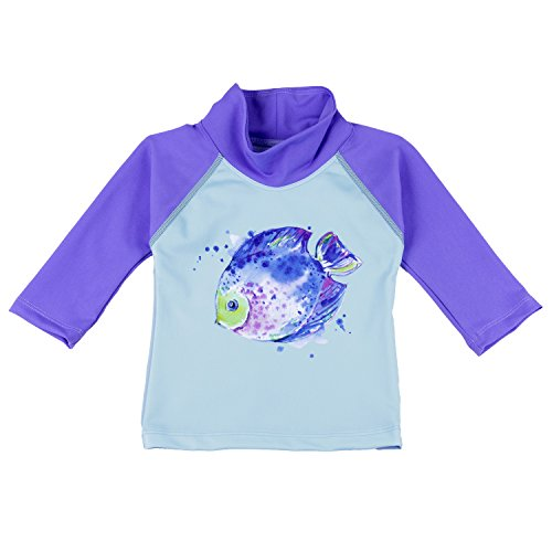 3 Arm Tulip - Nozone Baby Swim Shirt - UPF 50+ in Girls, Chill Blue/Tulip, Fish Art, 0-6 Months
