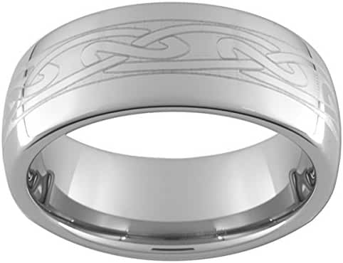 8mm Tungsten Carbide Dome Celtic Ring (full & half sizes 5-15)