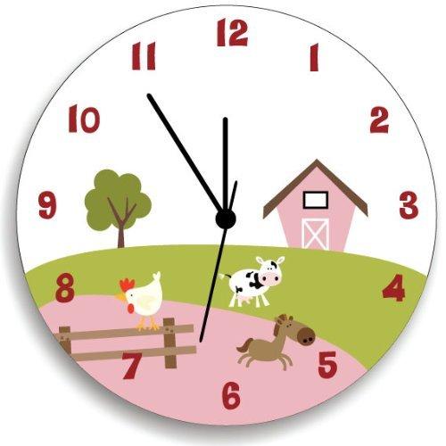 Amazon.com: Farm Animal WALL CLOCK, girls Farm Nursery pink Room ...