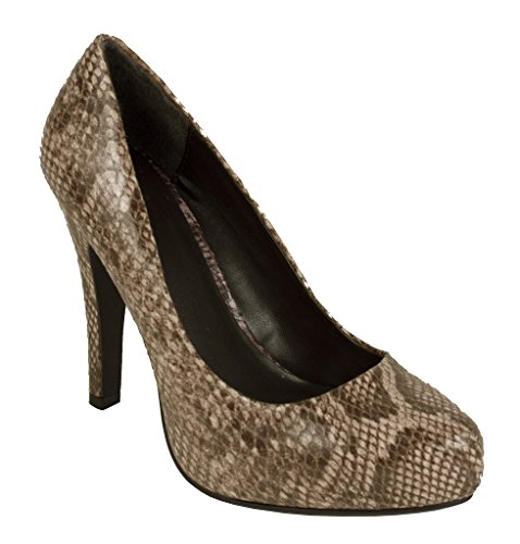 Lustacious Womens Hidden Platform Classic Slip On Pumps with Exotic Look of Embossed Python Skin Tan Python Leatherette UI7EWX