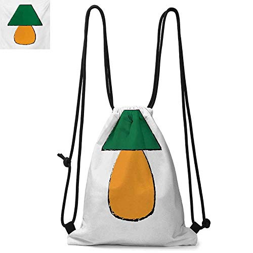 Green and OrangeDurable Drawstring BackpackBicolor Desk Furniture Design with Grunge InspirationsSuitable for school or travel W13.8 x L17.7 Inch Orange Forest Green ()