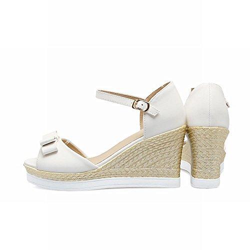 Carolbar Femmes Boucle Doux Arcs Peep-toe Plate-forme Cales Sandales Blanc