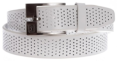 PGA TOUR Men's Super Soft Leather Perforated Belt with Swinger Logo Buckle (White, (Leather Logo Buckle)